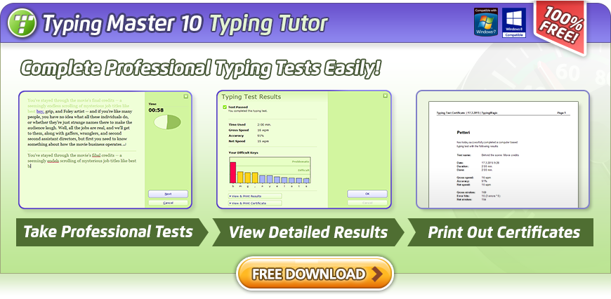 Typing Master 10 - A Free Typing Tutor for Windows